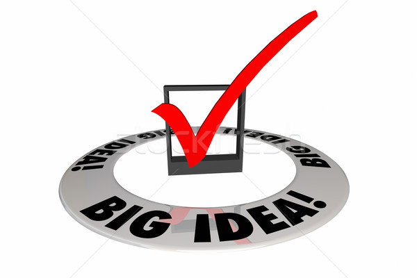 Big Idea Check Mark Box Original Creative Words 3d Illustration Stock photo © iqoncept