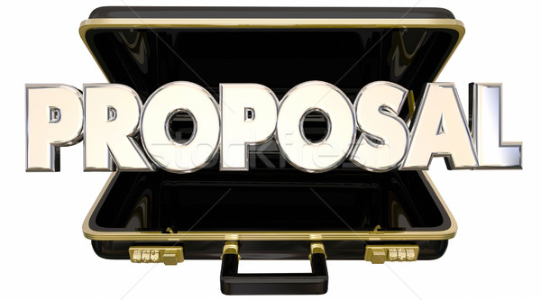Proposal Presentation 3d Words Briefcase Sales Pitch Stock photo © iqoncept