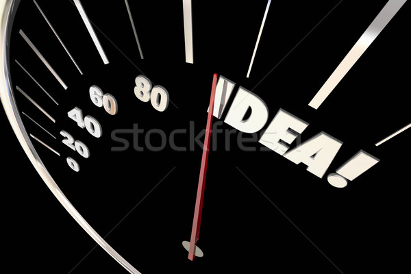 Idea Great Creative Thinking Imagination Words Speedometer 3d Il Stock photo © iqoncept