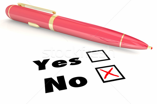 No Answer Vs Yes Negative Denial Rejection Pen Check Box 3d Illu Stock photo © iqoncept