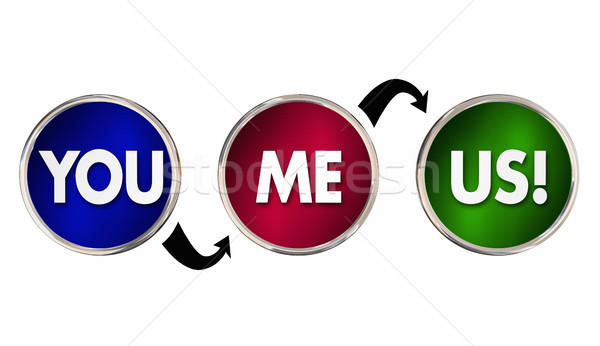Stock photo: You Me Us Working Together Partnership Cycle Circles 3d Illustra