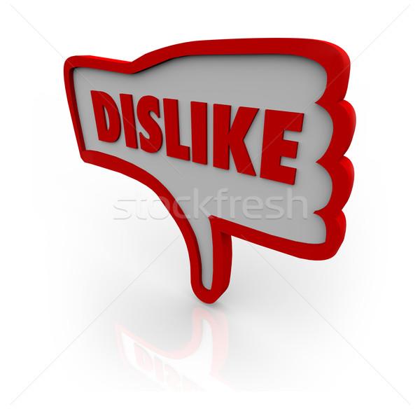 Nie lubić kciuk w dół strony ikona czerwony Zdjęcia stock © iqoncept