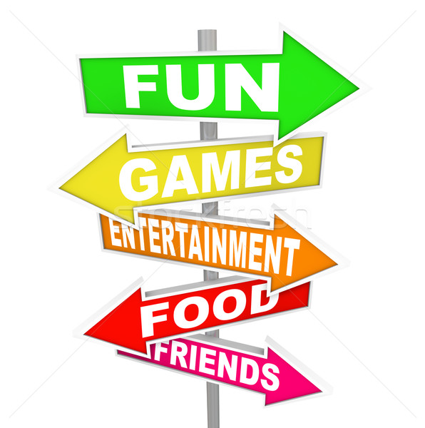 Fun Entertainment Activity Signs Pointing Directions Stock photo © iqoncept