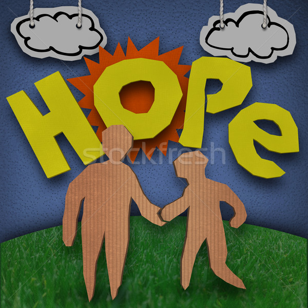 Hope Cardboard Diorama Word People Holding Hands Stock photo © iqoncept