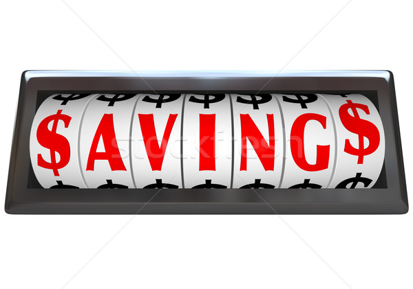Savings Word on Odometer Dials Save Money Sale Stock photo © iqoncept