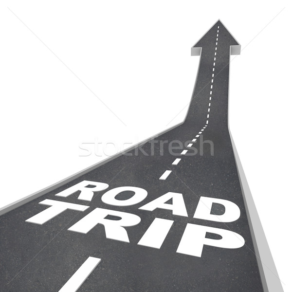 Road Trip Words on Street for Fun Adventure Vacation Stock photo © iqoncept