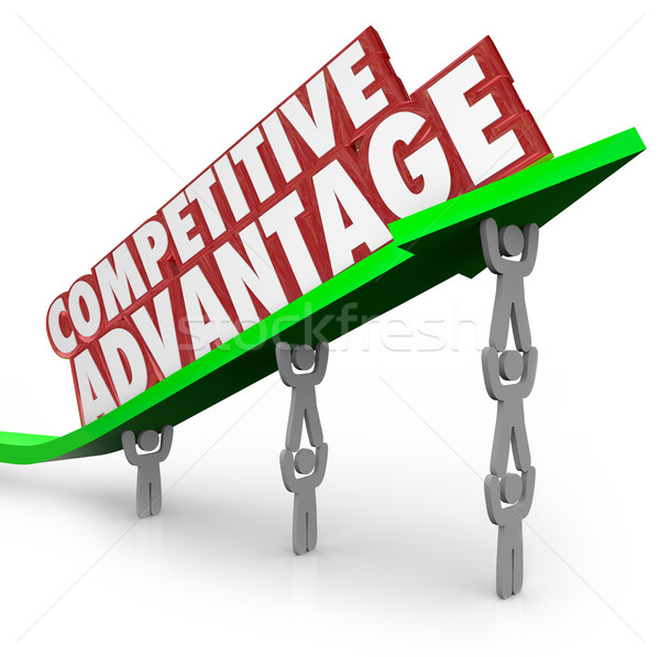 Competitive Advantage Team Lifting Words Arrow Stock photo © iqoncept