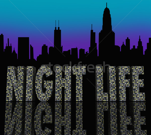 Vie nocturne mots bâtiment gratte-ciel bâtiments Photo stock © iqoncept