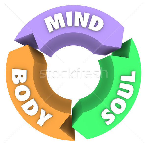 Stock photo: Mind Body Soul Arrows Circle Cycle Wellness Health