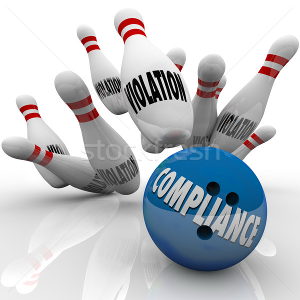 Compliance Bowling Ball Strike Violations Follow Rules to Win Stock photo © iqoncept