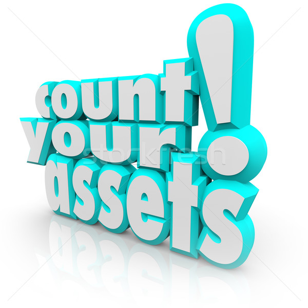 Count Your Assets 3d Words Tracking Wealth Value Money Stock photo © iqoncept