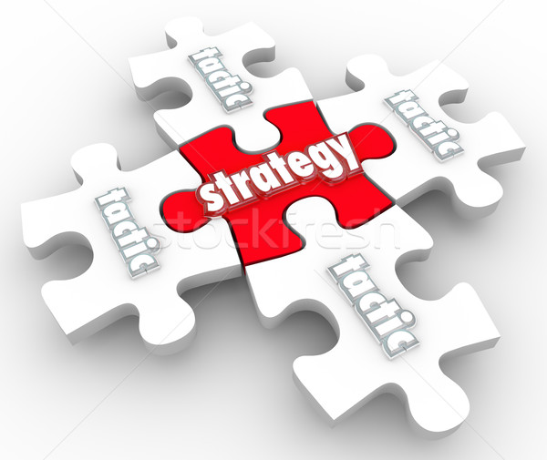 Strategy Tactics Plan Implementation Execution Puzzle Pieces Stock photo © iqoncept