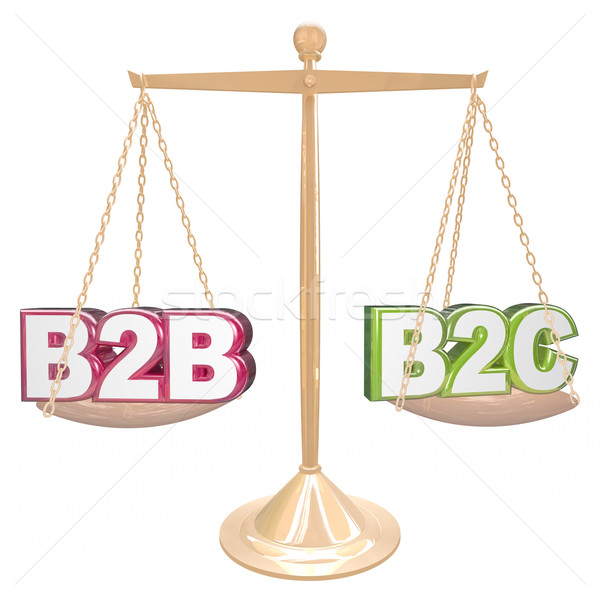 B2B vs B2C Selling to Business or Conumers Letters on Scale Stock photo © iqoncept