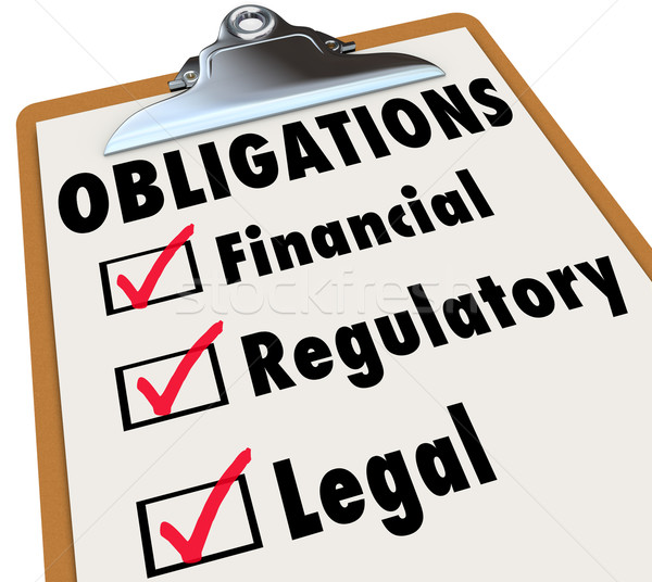 Obligations Checklist Check Mark Boxes Legal Regulatory Financia Stock photo © iqoncept