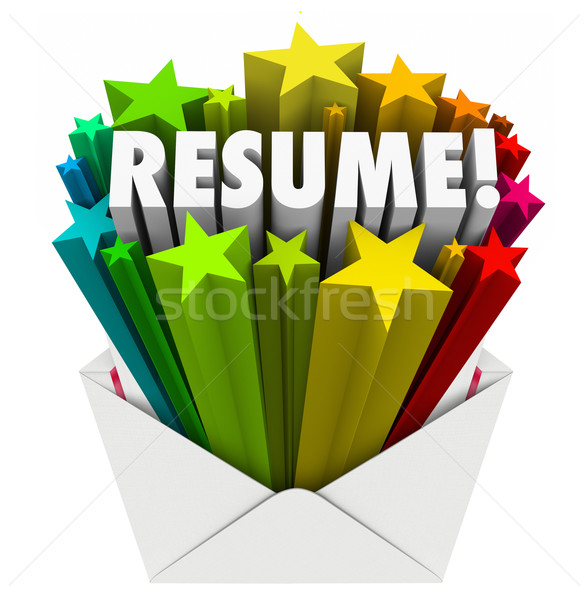 Resume Word Stars Open Envelope Promote Your Skills Knowledge Ex Stock photo © iqoncept