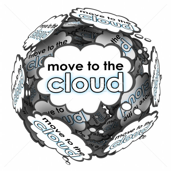 Move to Cloud Words Thoughts Ideas Plan Online Shift Servers Stock photo © iqoncept