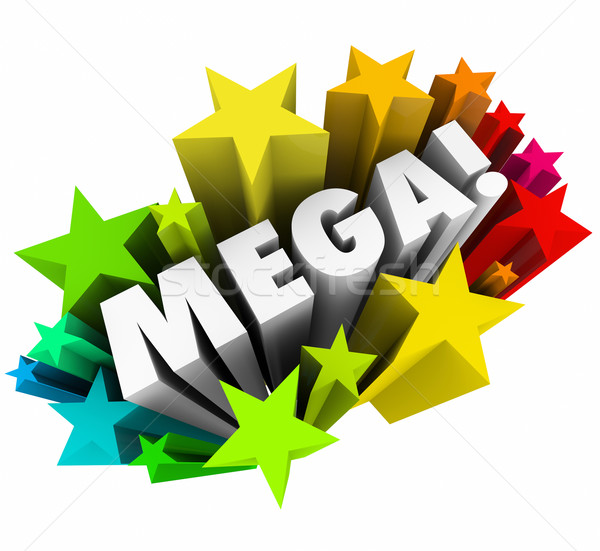 Mega Big Huge Word Stars Gigantic Great Response Sale Stock photo © iqoncept