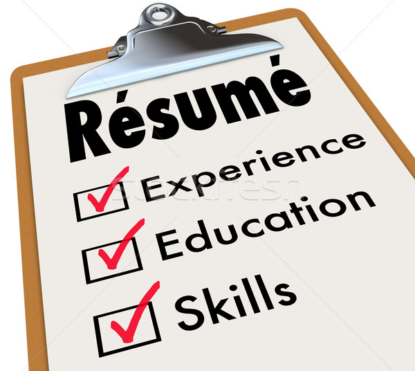 Resume Clipboard Checklist Qualifications Education Experience S Stock photo © iqoncept