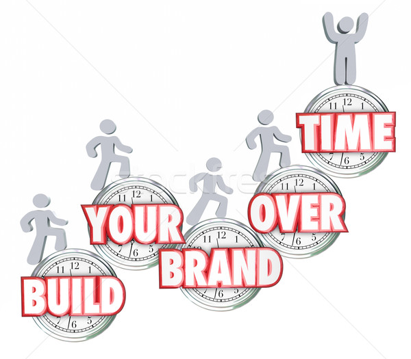 Build Your Brand Over Time People Walking Stepping Up Clocks Stock photo © iqoncept