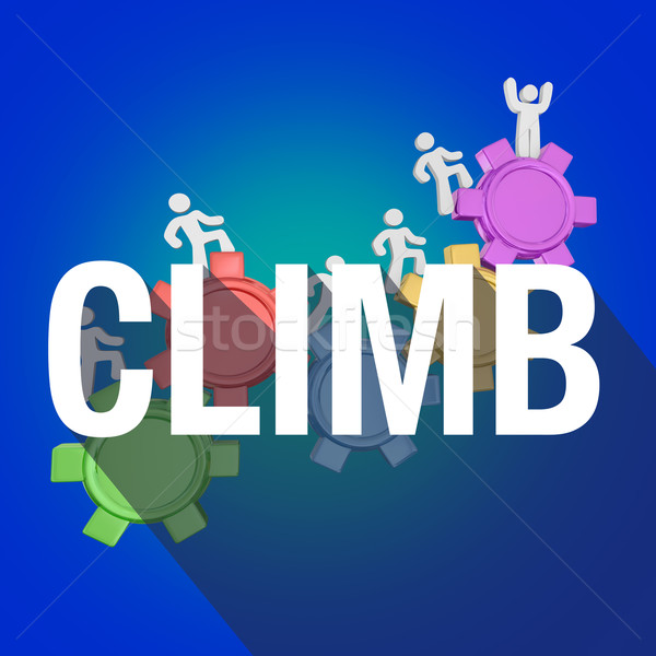 Climb People Rising Up Increase Higher Success Long Shadow Word Stock photo © iqoncept