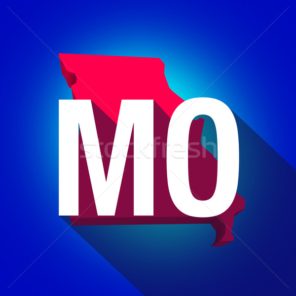 Stock photo: Missouri MO Letters Abbreviation Red 3d State Map Long Shadow