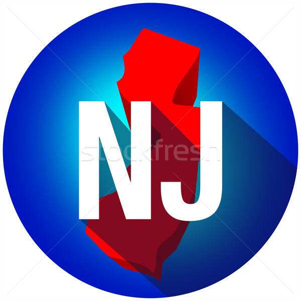 New Jersey NJ Letters Abbreviation Red 3d State Map Long Shadow  Stock photo © iqoncept