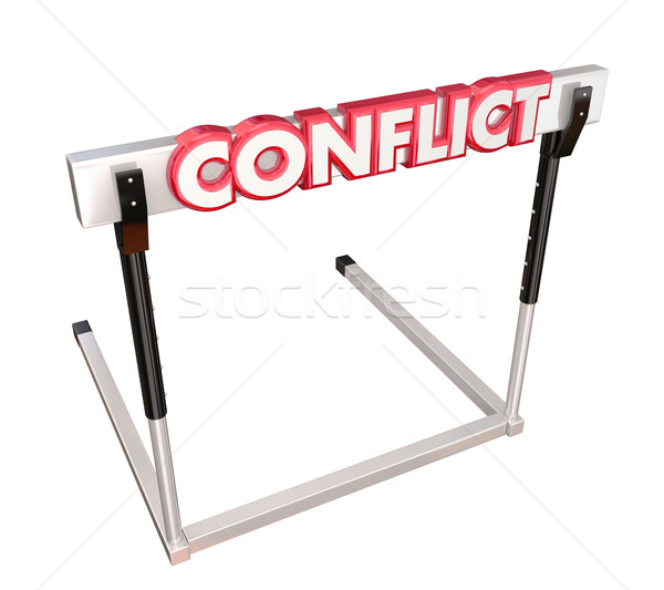 Conflict Obstacle Hurdle 3d Word Overcome Dispute Argument Reach Stock photo © iqoncept