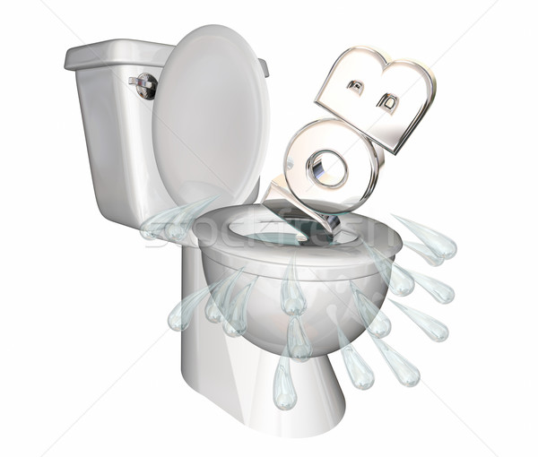 Job Position Unemployed Loss Laid Off Toilet Flush Down 3d Illus Stock photo © iqoncept