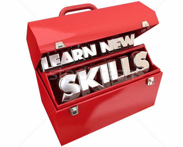 Learn New Skills Toolbox Education Training Words 3d Illustratio Stock photo © iqoncept