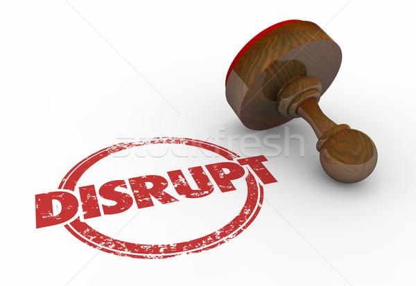 Disrupt Change Innovate Evolve Round Stamp Word 3d Illustration Stock photo © iqoncept