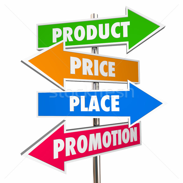 Product Price Place Promotion 4 Ps Marketing Signs 3d Illustrati Stock photo © iqoncept