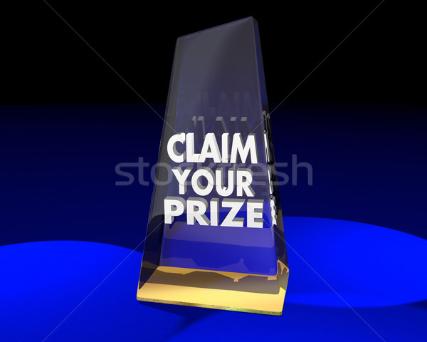 Claim Your Prize Award Trophy Winner 3d Illustration Stock photo © iqoncept