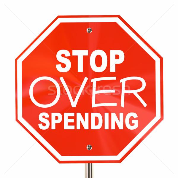 Stok fotoğraf: Durdurmak · imzalamak · kurtarmak · daha · fazla · para · bütçe