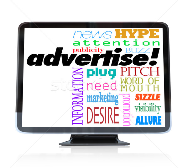Advertise Marketing Words on HDTV Television Stock photo © iqoncept