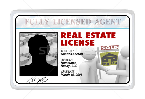 Laminated Card - Real Estate License for Agent Professional Stock photo © iqoncept