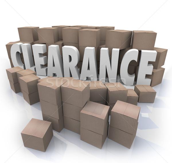 Kiárusítás készlet dobozok szó kiárusítás karton Stock fotó © iqoncept