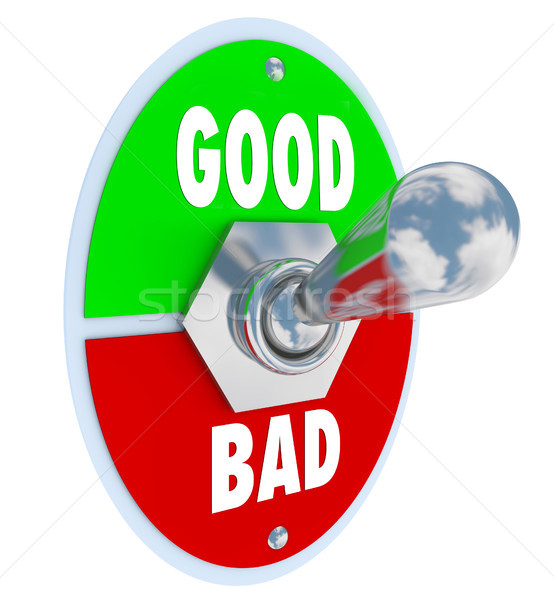Good Vs Bad Words Toggle Switch Lever Judge Positive or Negative Stock photo © iqoncept