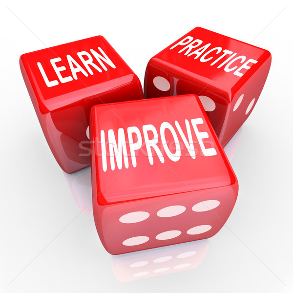 Learn Practice Improve Words 3 Red Dice Stock photo © iqoncept