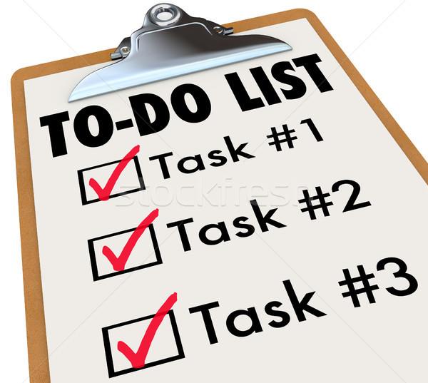 Lista feladatok vágólap szavak célok lista Stock fotó © iqoncept