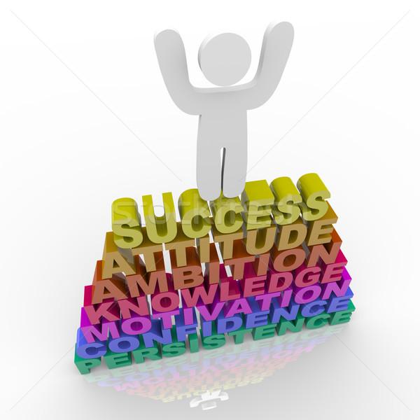 Persoon vieren succes woorden houding ambitie Stockfoto © iqoncept