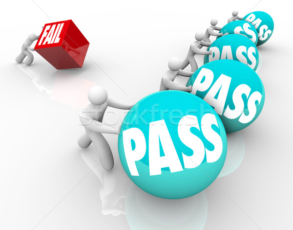 Pass Vs Fail Race Success Versus Failure Spheres Cube Stock photo © iqoncept