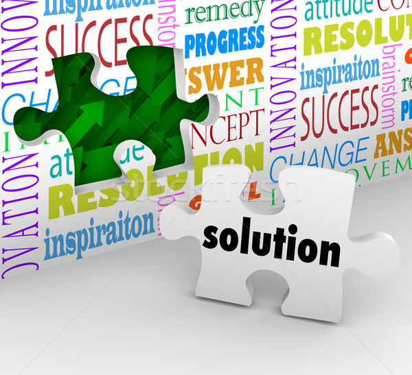 Solution Puzzle Piece Wall Problem Challenge Solved Stock photo © iqoncept