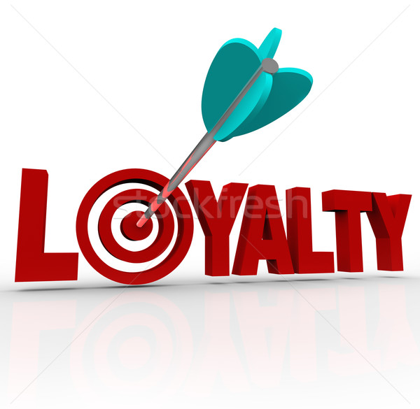 Stock photo: Loyalty Arrow in 3D Word Customer Reputation
