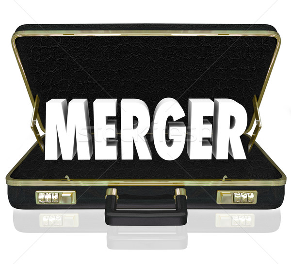 Merger Word Business Briefcase Combine Companies Offer Proposal Stock photo © iqoncept