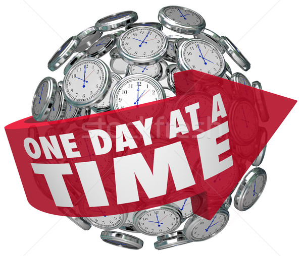 One Day at a Time Clock Sphere Slow Patient Progress Moving Forw Stock photo © iqoncept