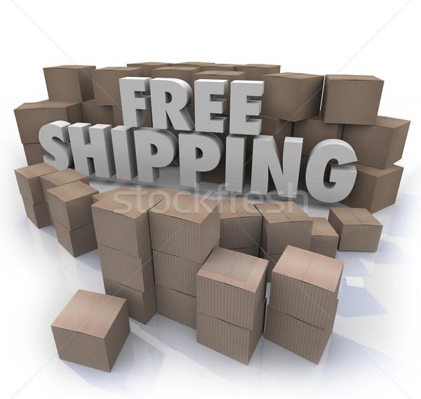 Ingyenes szállítás karton dobozok csomagok házhozszállítás szavak Stock fotó © iqoncept