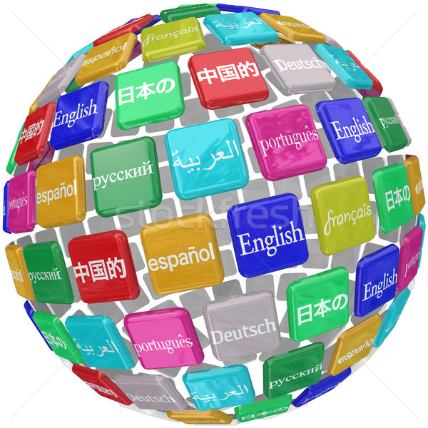 Language Tiles Globe Words Learning Foreign International Transl Stock photo © iqoncept