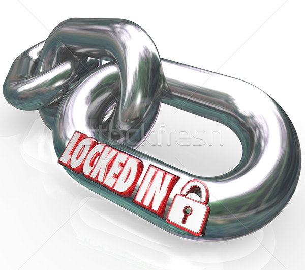 Locked In Words Chain Links Commitment Contractual Obligation Stock photo © iqoncept