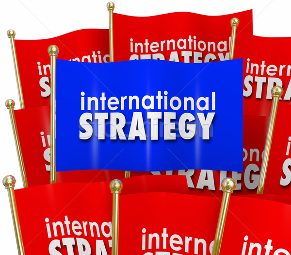 International Strategy Words Flags Global Policy Diplomacy Stock photo © iqoncept