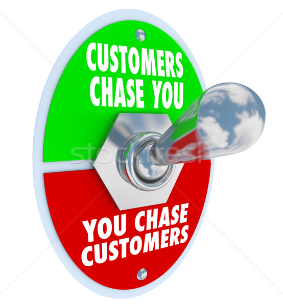 Stock photo: Customers Chase You Toggle Switch Marketing Advertising Demand